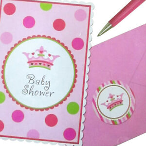 NEW LITTLE PRINCESS INVITATION SET (8) ~ Baby Shower Party Supplies Stationery