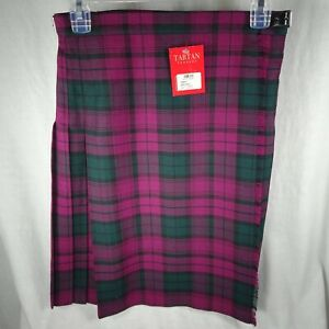 Lindsay Tartan Girls Kilt Sz 12 Years Purple Green Scotland Polyester Viscose