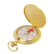 Vintage Luminous Golden Pocket Watch Compass Metal Case Outdoors Camping Pro New