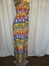 Sexy Multicolour Strapless Thai Tribal Pattern Long Dress One Size Regular