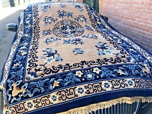 Auth; 1980's Chinese Peking Rug Ancient Traditions  XLNT Wool Beauty Tan 7x10 NR