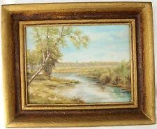 Gemälde Öl Bild Landschaft Fluß Dorf Gold Leinwand Rahmen signiert H.Richter 58