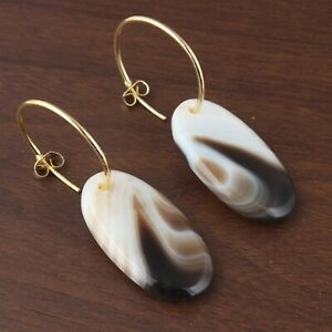 White Black Agate Slice Yellow Gold Plated Hoop Bali Earring For Girls Jewelry