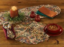 Jewels Paisley Cotton Round Placemat ~ Quilted