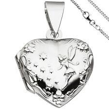 Mujer Medallón Colgante Corazón para Abrir 2 Fotos 925 Plata con Cadena 42CM