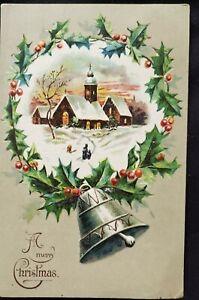 Antique Christmas Card die cut Embossed design Bell Corning Nevada