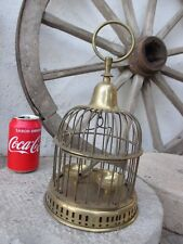 Vintage Hanging Brass Bird Cage Swing Perch Pet Feeder Bowls Total Tall 11,5""