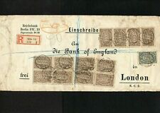 GERMANY 1923 - REICH BANK REGISTERED INFLATION COVER TO BANK OF ENGLAND - BERLIN