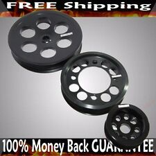 BLACK Crank Pulley Kits for 93-97 Supra 2JZGTE JZA80 3.0L I4 DOHC Engine Models