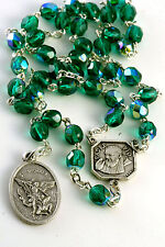 Emerald Green St Saint Michael Padre Pio Guardian Angel Rosary Beads Chaplet 6MM