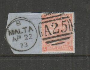 Malta GB Used in 1859/84 4d Vermillion PL 13 on piece, CAAC, A25 & Malta cds, SG