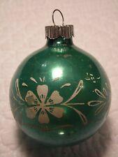 "VINTAGE CHRISTMAS TREE ORNAMENT FEATHER TREE FLOWERS BLUE 2.5"""