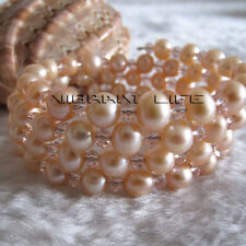 "8"" 6-8mm Peach pink Freshwater Pearl Bracelet  UK"