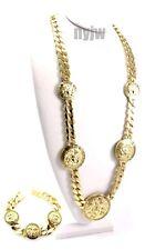 """Link Chain & Bracelet Set Kmc001-1G Celebrity Drake Medusa 5 Medallion 33"""" Cuban"""
