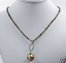16.65ctw Diamond 11.5mm Pearl 14K Gold Necklace