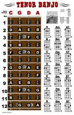 Tenor Banjo 4 String Fingerboard Wall Chord Chart Poster Notes Chords