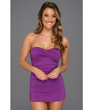 TOMMY BAHAMA PEARL SOLIDS SHIRRED BANDEAU ONE PIECE SWIMSUIT PURPLE SIZE 4 $138