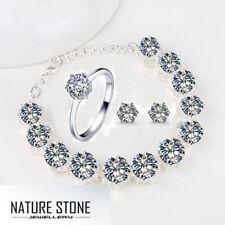 Wedding  Jewelry Set Round White Topaz Gems Silver Bracelet Earrings Ring Size 7