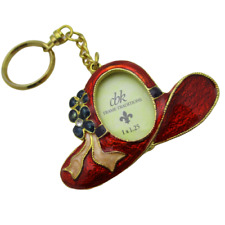CBK Picture Frame Keychain Enamel Gold Red Hat with Flowers