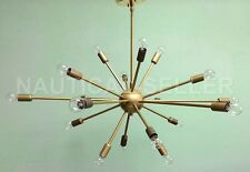 Mid Century Modern 18 Arm Antique Brass Sputnik chandelier starburst light