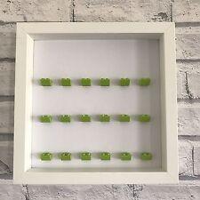 LEGO Mini Figures Display Case Frame White Lime Green Brick