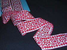 "RED on WHITE Cotton Ribbon Tyrolean Trim NOS 2""w Reversible Decor/ Costume BTY"