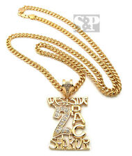 "GOLD PT WESTSIDE 2PAC SHAKUR PENDANT w/ 6mm36"" CUBAN CHAIN HIP HOP NECKLACE OP39"
