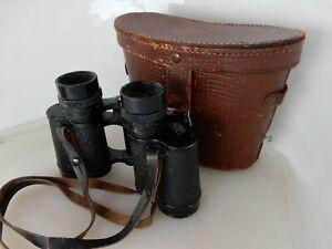 Vintage WW2 Era Carl Zeiss Jena 8x30 Deltrintem Binoculars, Clear Optics, Case