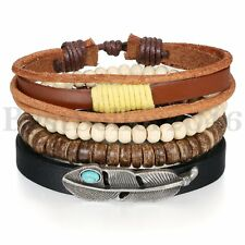 4PCS Adjustable Retro Feather Black Brown Leather Wood Stone Bracelet Unisex Set