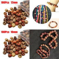 100pcs Mix Color Wooden Large Hole Charm Jewelry Pony Beads For Kids Crafts DIY