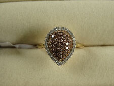 1/2Ct Natural Champagne & White Diamond Cluster 14K Y Gold/925 Ring Size L