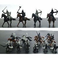 Medieval Knights Warriors Horses Soldiers Figures Model Playset Plastic Kids Toy