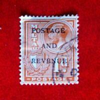 KING GEORGE V MALTA POSTAGE STAMP USED 1d O/P POSTAGE & REVENUE