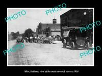 OLD LARGE HISTORIC PHOTO OF MIER INDIANA, THE MAIN STREET & STORES c1910