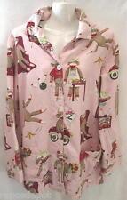 Nick Nora Pajama Sleepshirt Top M Sock Monkey Pink  Bowling Car Chef Cotton L/S