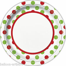 """8 Christmas Party Festive Red Green Polka Dots Disposable Large 9"""" Paper Plates"""