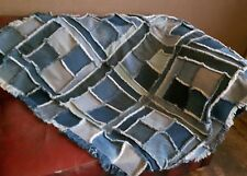 Very Large Patchwork Denim Blanket, Handmade Denim Throw, Floor Rug, Geometric