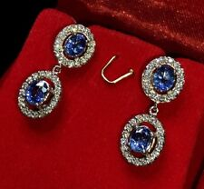 STUNNING 2.80TCW CEYLON Blue Sapphire diamonds 18K solid white earrings dangling