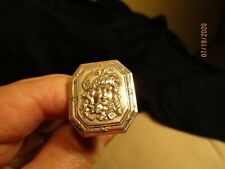 Vintage silver hat pin with embossed Girls head