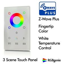 Z-Wave Glass Touch Panel Switch, In Wall Remote, RGBW Dimmer and Repeater 110v