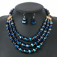 Necklace 3 Set Beads Jewelry Layers Earring Elegant Strand Women African Design