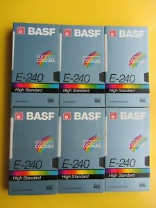 6 x BASF 4 hr VHS E240 Blank Cassette Tapes. Mostly little used V Good Re-usable