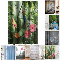 Bathroom Bath Shower Curtain 3D Tower Polyester Fabric Waterproof Panel + Hooks