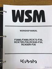 Kubota F2880 & F3680 Mower Workshop Manual with Decks BINDER