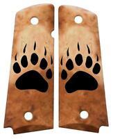Custom Full Size 1911 Grips Ambidextrous Bear Paw Faux Bone for Colt Kimber etc.