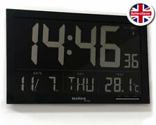 Technoline WS8007 Large LCD Digital Wall Clock with Date and Indoor Temperature