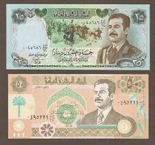 Iraq 25, 50 Dinars 1986,1991; P-73, 75, L-B330a, B332a; Saddam Hussein; set of 2