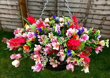 Large Hanging Basket with Artificial flowers and Berries hand made