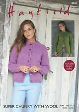 Sirdar 8026 Knitting Pattern Womens Cardigans in Hayfield Super Chunky With Wool