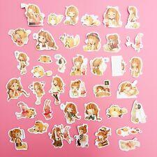 39x Mixed Kawaii Girl Pet Illustration Die Cut Sticker Flake Sack Planner Craft
